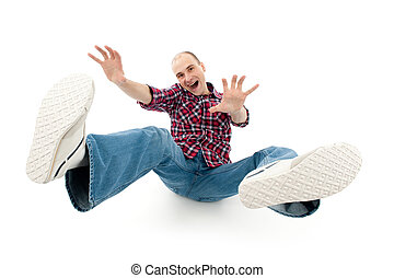 falling young man isolated on white background