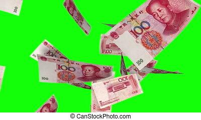 Falling Yuan (Loop on Greenscreen) - Falling Chinese Yuan...