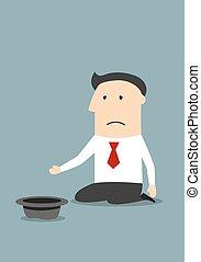 fallito, infelice, uomo affari, elemosinare, soldi