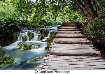 Falls and path in Plitvice Lakes