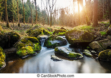 Falls on the small mountain river in a wood