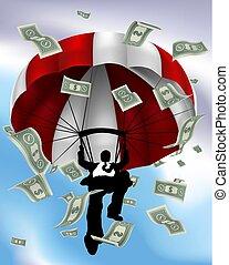 fallschirmspringen, silhouette, bargeld, kaufleuten zürich