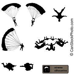 fallschirmspringen, silhouetten, sammlung