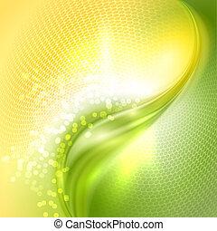 falować, abstrakcyjny, zielone tło, żółty