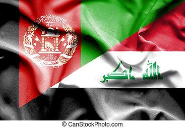 falować, afganistan, bandera, irak