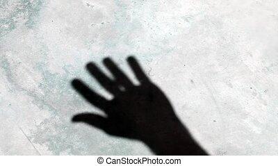 falować, cień, video, ręka