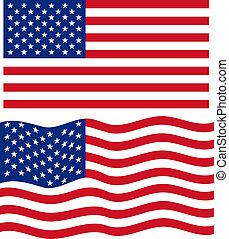 falować, płaski, amerykanka, wektor, flag.