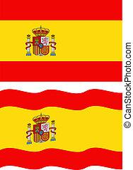 falować, płaski, wektor, hiszpański, flag.