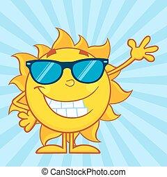 falować, słońce, uśmiechanie się, powitanie