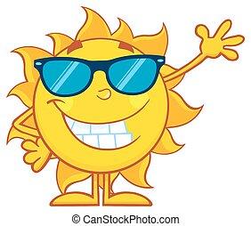 falować, słońce, uśmiechanie się, sunglasses