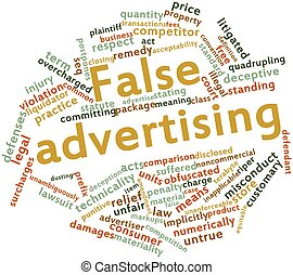 False advertising - Abstract word cloud for False...