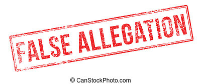 False Allegation red rubber stamp on white. Print, impress,...