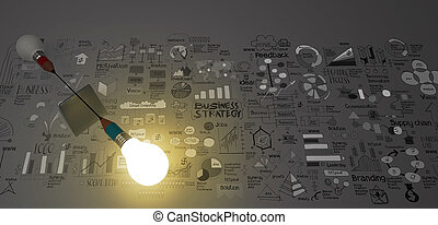 false balance of pencil lightbulb and hand drawn business strategy as concept