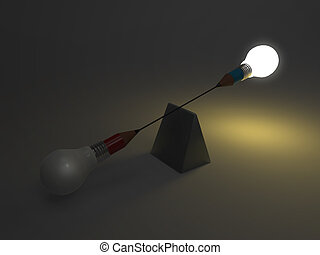 false balance of pencil lightbulb as concept