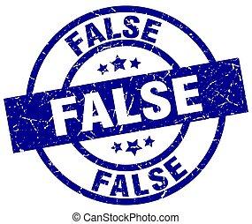 false blue round grunge stamp