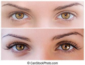 False eyelashes - Natural and false eyelashes before and...