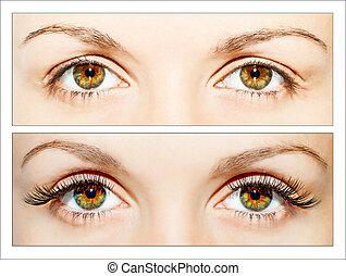False eyelashes - Natural and false eyelashes before and ...