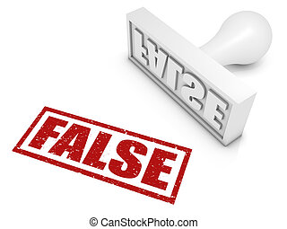 "False - ""FALSE"" rubber stamp. Part of a rubber stamp series."