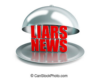 false news on a silver platter on a white background