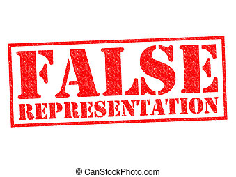FALSE REPRESENTATION red Rubber Stamp over a white...