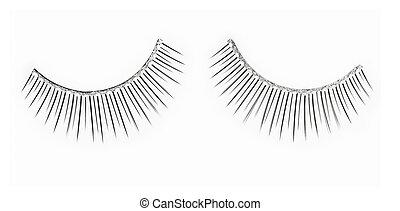 False spangled eyelashes  over white