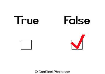 False-straight - True and false question with a checkmark