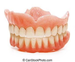 false teeth - False teeth prosthetic on isolated white...