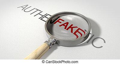falsificação, autêntico, ampliado