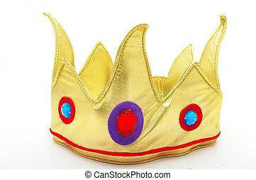 falsificación, juguete, corona oro, aislado, blanco