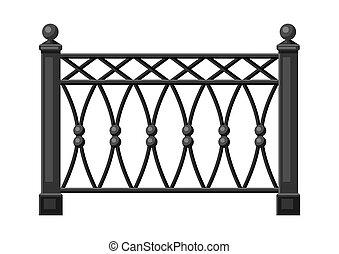 falsificado, ilustración, fence., metal