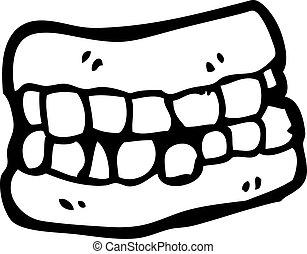 falso, cartone animato, denti