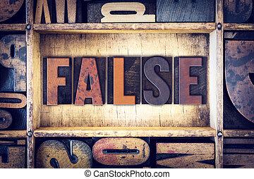 falso, concetto, tipo, letterpress