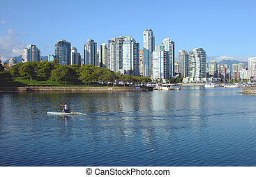 falso, insenatura, &, bc, baia, vancouver, zona portuale, sailboats., lato, sud