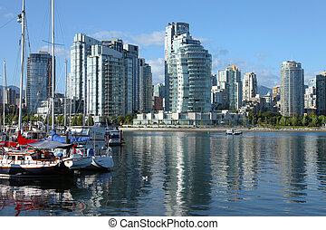 falso, insenatura, &, vancouver, bc., sailboats., fiume