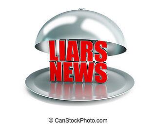 falso, notícia, ligado, um, platter prata