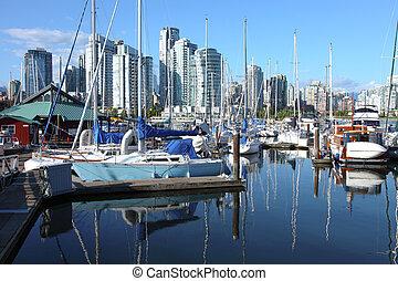 falso, riacho, bc, centro cidade, skyline, vancouver, canada.