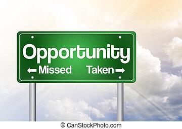 faltado, tomado, empresa / negocio, camino, oportunidad, verde, señal, concepto