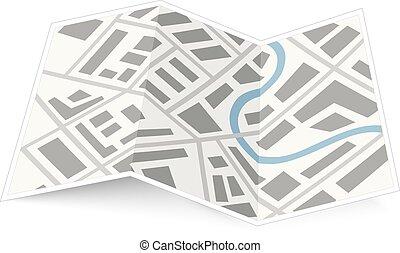 falten, landkarte, von, stadt, mit, schatten, weiß