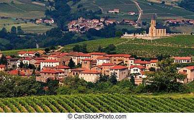 falu, alatt, beaujolais, vidék, franciaország