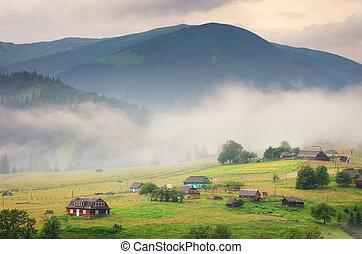 falu, alatt, hegy