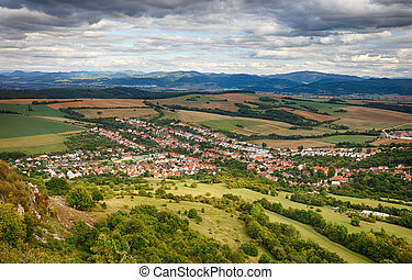 falu, -, felülnézet, dolna, suca, slovakia