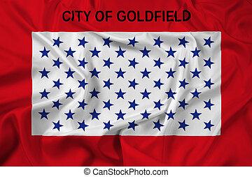 falując banderę, od, goldfield, kolorado, usa