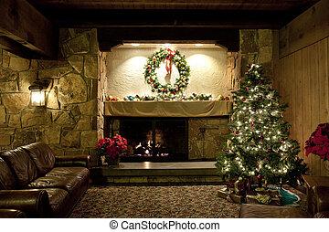 falusias, eleven, karácsony, szoba