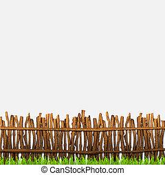 falusias, fű, kerítés