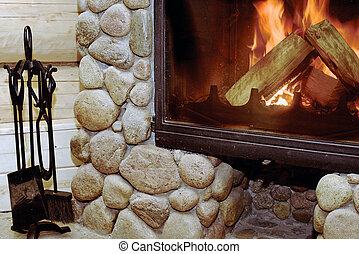 falusias, kandalló, wood-burning