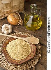 falusias, olívaolaj, háttér, köles