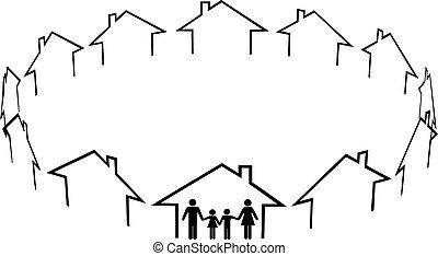 família, achar, lar, comunidade, vizinhos, casas