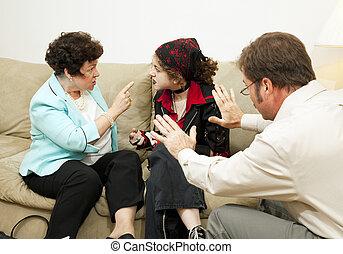 família aconselha, -, culpa, filha