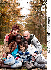 família, adotado, crianças