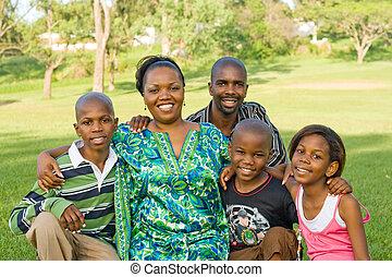 família, africano, feliz